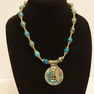 "Jewelry - Women's Necklace Blue Silver 21"""